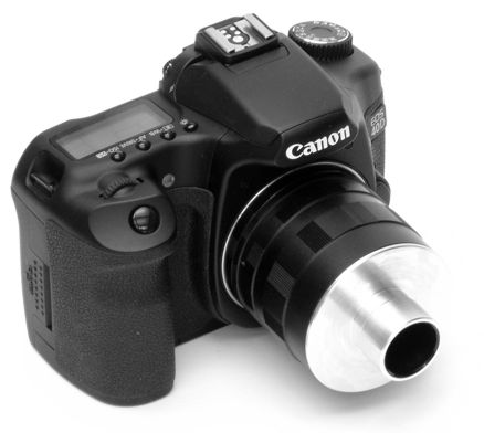SLR adapter for Bausch and Lomb Stereozoom 7 trinocular photoport, mounted on Canon 40D digital camera