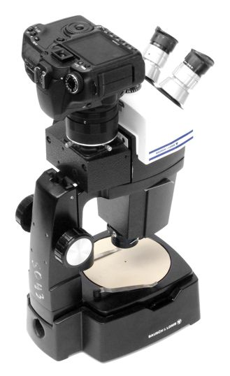 SLR adapter for Bausch and Lomb Stereozoom 7 trinocular photoport, with Canon 40D, on the microscope