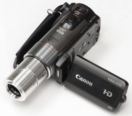 Canon HF200 video camera with C-mount adapter attached