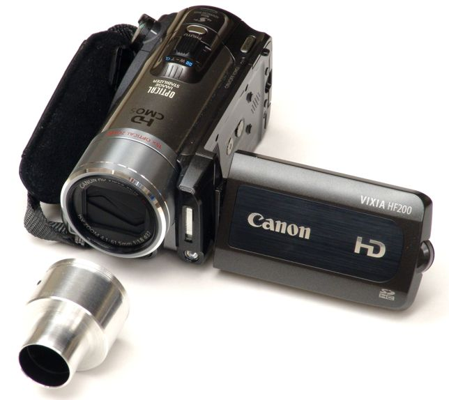 Canon HF200 video camera with 23mm eyetube adapter unattached