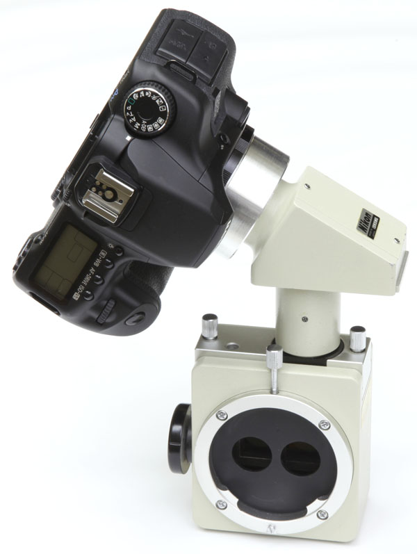 Nikon FS-2 slit lamp beamsplitter with digital SLR camera adapter