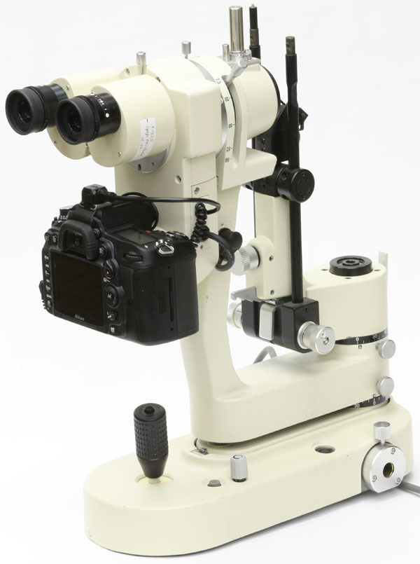 Nikon FS-3V slit lamp assembled with drop-down beamsplitter and digital SLR camera adapter