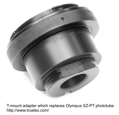 T-mount adapter which replaces Olympus SZ-PT phototube