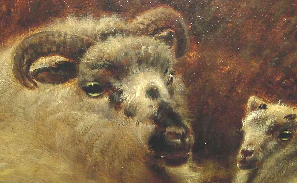 Richard Watson, English landscape painter, 1840-1921, sheep painting close-up detail